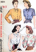 1940s WW II War Time Blouse Pattern SIMPLICITY 4814 Three Pretty Styles Perfect Under a Suit Bust 36 Vintage Sewing Pattern