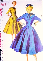 1950s BEAUTIFUL Princess Coat Dress Pattern SIMPLICITY 4831detachable Collar and Cuffs Bust 34 Vintage Sewing Pattern UNCUT