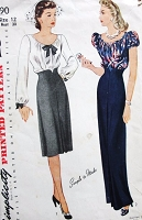 1940s Day or Evening Length Skirt and Blouse Pattern SIMPLICITY 4890 Flim Noir Design Lovely High Shaped Slim skirt, Flattering Peasant Blouse Bust 30 Vintage Sewing Pattern