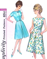 1960s STYLISH Day or After 5 Dress Pattern SIMPLICITY 4898 Bateau Neckline Front Inverted Pleat Bust 34 Vintage Sewing Pattern FACTORY FOLDED