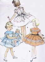 50s ADORABLE Little Girls Toddler Party Dress and Matching DOLL Dress Pattern SIMPLICITY 4914 Size 3  Doll Dress For 14,17 and 23 Inch Bonny Braids and Saucy Walker Dolls Uncut Vintage Sewing Pattern