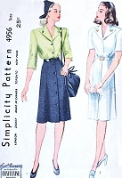 1940s WWII Dress Pattern SIMPLICITY 4956 Front Button Wide Lapel Collar Dress 2 Style Versions Bust 34 Vintage Sewing Pattern UNCUT