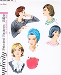 1960s FABULOUS Accessories Turban Hat, Ring Scarf, Dickey, Collar and Cuffs Pattern SIMPLICITY 5227 Vintage Sewing Pattern