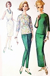 1960s CLASSY  Blouse, Cigarette Pants and Slim Skirt Pattern SIMPLICITY 5231 Day or Evening Bust 31 Vintage Sewing Pattern FACTORY FOLDED