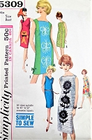 1960s FAB Shift Dress Pattern SIMPLICITY 5309  Perfect For Panel Prints Alfred Shaheen Fabrics Simple To Make Bust 32 Vintage Sewing Patterns