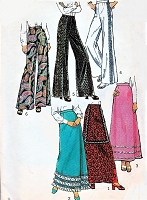 Retro 70s PALAZZO Pants and Maxi Skirt Pattern SIMPLICITY 5361 Day or Evening Size 8 Vintage Sewing Pattern