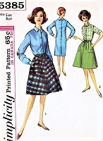 1960s MAD MEN Era Slim Shirtdress and Wrap Around Skirt With Cargo Pockets Pattern Simplicity 5385 Perfect Weekend Wear Bust 36 Vintage Sewing Pattern UNCUT