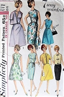 1960s CHIC A-Line or Slim Dress and Jacket Simplicity 5398 Bust 32 Vintage Sewing Pattern