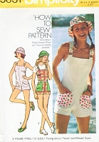 1970s CUTE Rompers Jumpsuit Playsuit and Sun Hat Pattern SIMPLICITY 5631 Bust 32 How To Sew BeachWear Vintage Sewing Pattern