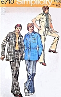 1970s Menswear Retro LEISURE Suit Pattern SIMPLICITY 5710 Casual Seventies Chic For Men Size 38 Vintage Gentlemens Sewing Pattern UNCUT
