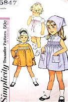 1960s ADORABLE Toddler Little Girls Dress and Scarf and SMOCKING Transfer Pattern  SIMPLICITY 5847 Sweet Styles Size 2 Childrens Vintage Sewing Pattern UNCUT
