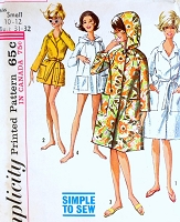 1960s Robe Pattern SIMPLICITY 5965 Simple To Sew Beach Coat Cover Up or Lounge Bathrobe 2 Lengths Hood Version Size Small Vintage Sewing Pattern
