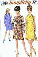 1960s MOD Day or Party Dress Pattern SIMPLICITY 6783 A Line Bell Sleeves MIni Go Go Dress Bias Roll Collar Version Cut In Arm Holes Bust 34 Vintage Sewing Pattern