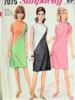 1960s MOD Color Block Simplicity 7075 Bust 34 Vintage Sewing Pattern