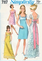 1960s CHARMING Empire Waist Puff Sleeve Bridesmaids, Evening or Prom Dress Pattern SIMPLICITY 7117 Bust 34 Vintage Sewing Pattern
