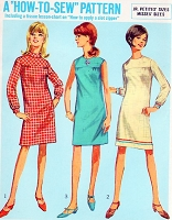 1960s MOD  Shift Dress Pattern How To Sew SIMPLICITY 7177 Bust 36 Vintage Sewing Pattern UNCUT