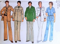 1970s RETRO Mens Leisure Suit Pattern SIMPLICITY 7314 Classic 70s Safari Suit Shirt Jacket Contains 2 Sizes 42 and 44 Vintage Gentlemens Sewing Pattern FACTORY FOLDED