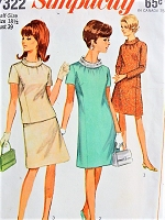 1960s MOD High Collar Dress, Top, and Skirt Simplicity 7322 Vintage Sewing Pattern