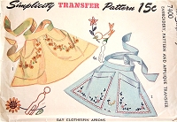 1940s PRETTY ClothesPin Aprons Pattern SIMPLICITY 7400 CUTE Style Includes Pattern,Embroidery and Applique Transfer Vintage Sewing Pattern UNCUT