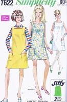 1960s CUTE Mod Dress or Jumper Pattern SIMPLICITY 7622 Mini or Regular Length Bust 36 Easy To Make Jiffy Vintage Sewing Pattern