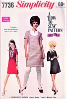 1960s CUTE Mod Dress Detachable Collar Cuffs SIMPLICITY 7736 Bust 32 How To Sew  Vintage Sewing Pattern UNCUT