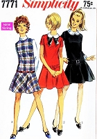 1960s MOD Drop Waist Dress Pattern SIMPLICITY 7771 Includes Detachable Cuffs and Collar CUTE Styles Bust 32 Vintage Sewing Pattern UNCUT