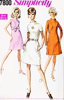MOD 60s A Line Dress Pattern SIMPLICITY 7800 Seam Interest Dress 3 Styles Bust 36 Vintage Sewing Pattern UNCUT