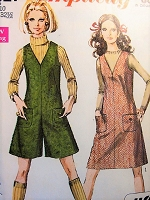 1960s MOD  Jumper Dress and Mini-Pant Culotte Jumper Pattern SIMPLICITY 7821  Easy To Sew Bust 32  Vintage Jiffy Sewing Pattern UNCUT