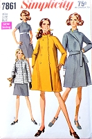 MOD 60s Lovely Coat and Dress Pattern SIMPLICITY 7861 Two Lengths Coat  or Jacket , Empire Dress Bust 36 Vintage Sewing Pattern UNCUT