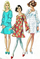 MOD 60s CUTE Dress Pattern SIMPLICITY 7983 Trumpet Flared Dress 3 Sleeve Styles Day or Party Bust 31.5 or 36 Vintage Sewing Pattern UNCUT