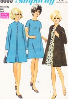1960s MOD Scallop Neck Tent Dress, Unlined Coat Pattern SIMPLICITY 8005  Designed for Maternity Bust 38 Vintage Sewing Pattern UNCUT
