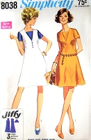 1960s CUTE Flared Dress Pattern SIMPLICITY 8038 Two Versions Bust 32 or 36 Vintage Sewing Pattern UNCUT