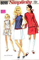 Mod 1960s CUTE Culotte Dress and Jacket Pattern SIMPLICITY 8098 Mini Dress Skort Skirt Scooter Fun Summer Outfit or Tennis Bust 36  Vintage Sewing Pattern UNCUT