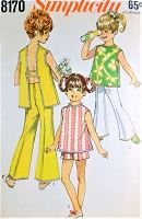 1960s CUTE Girls SUN Top and Pants, Shorts Pattern SIMPLICITY 8170 Sweet Styles Size 8 Childrens Vintage Sewing Pattern UNCUT