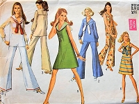 1960s MOD Dress, Blouse and Bell Bottoms in Several Styles  Simplicity 8205 Bust 34 Retro Sewing Pattern