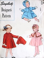 1950 SWEET Little Baby Girls Hat Bonnet ,Coat Detachable Cape and Leggings Pattern SIMPLICITY Designers 8367 Just Adorable Toddlers Baby Styles Size 6 Months Vintage Sewing Pattern