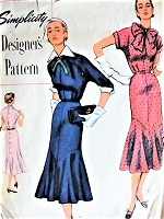 1950s BEAUTIFUL Dress Pattern SIMPLICITY Designers 8345 Slim Button Back Dress Low Flared Skirt Two Lovely Styles Day or Evening Bust 30 Vintage Sewing Pattern