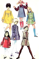 1960s MOD Girls Dress or Jumper and Scarf Pattern SIMPLICITY 8373 Six Cute Retro Styles Size 10 Childrens Vintage Sewing Pattern UNCUT