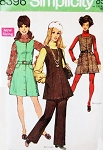 MOD 60s Mini or Regular Jumper Dress and Pants Pattern SIMPLICITY 8396 Cute Styles Size 8 or 14 Vintage Sewing Pattern UNCUT