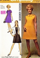 1960s MOD Petal Collar Dress Pattern SIMPLICITY 8485 A Line Color Block Dress Bust 36 Mad Men kawaii Vintage Sewing Pattern