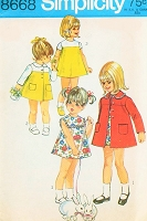 1960s ADORABLE Toddler Little Girls Babies Dress and Coat Pattern Simplicity 8668 Two Sweet Styles Size 3 Vintage Sewing Pattern