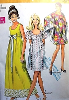 70s CUTE Empire Dress and Shawl Pattern SIMPLICITY 8738 Prom Wedding Party Mini or Maxi Length Bust 34 Vintage Sewing Pattern