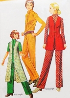 RETRO 70s Simplicity 8972 HOT Mod Nehru Collar Front Zip Emma Peel Avengers Jumpsuit Midi or Tunic Length Sleeveless Vest Coat Bust 34 Vintage Sewing Pattern UNCUT