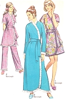 1970s CUTE Bath Robe Lounging Robe and Pants Pattern SIMPLICITY 9100 Spa Salon Short Version or Full Length Size Small Vintage Sewing Pattern UNCUT