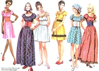 1970s ROMANTIC Peasant Dress Pattern SIMPLICITY 9164 Off Shoulder Mini Maxi Gypsy Bohemian Wench Boho Lace Up Midriff Cosplay Bust 32 Vintage Sewing Pattern UNCUT