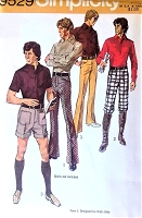 1970s RETRO Menswear Pants, Knickers and Shorts Pattern SIMPLICITY 9529 Cool Seventies  Size 34 Vintage Mens Sewing Pattern UNCUT