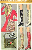 Retro 70s Boho Shoe Spats and Shoulder Bags Pattern SIMPLICITY 9553 Roller Derby Accessories, Derby Spats Vintage Seventies Sewing Pattern