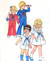 1970s ADORABLE Simplicity 9947  Toddlers Sailor Bell Bottom Zip Front Jumpsuit and Dress Pattern Boys Girls Size 3 Vintage Sewing Pattern