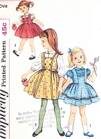1960s CUTE Little Girls Jumper Dress and Puff Sleeve Blouse Pattern SIMPLICITY 3603 Size 6 Vintage Sewing Pattern