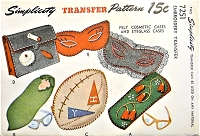 1940s SIMPLICITY Transfer Pattern 7251 Cosmetic and EyeGlass Cases Hot Iron Transfers Vintage Sewing and Embroidery Pattern UNCUT